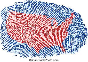 estados unidos, mapa, dentro, un, huella digital
