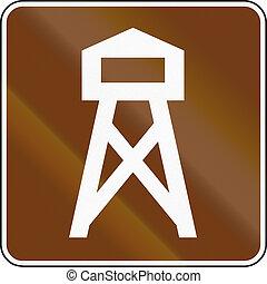estados unidos, mutcd, guia, sinal estrada, -, torre vigia