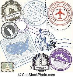 estados unidos, viagem, selos, jogo, -, eua, viagem, símbolos