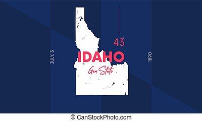 estados, vector, postales, nombre, 43, carteles, 50, unión, ...