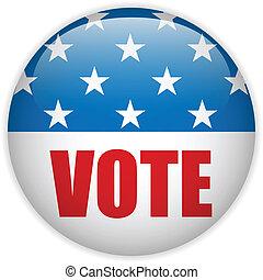 estados, voto, unido, elección, button.