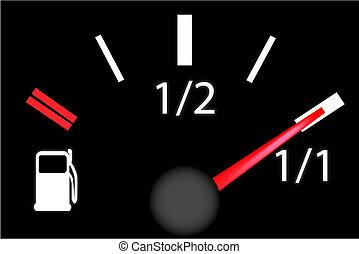 estafette, auto, benzine, plank, meter