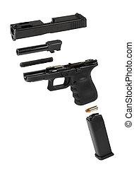 estallado, pistola, automático