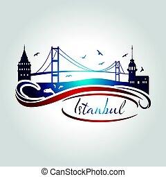 estambul, símbolo, ilustración, vector, logotipo, icono