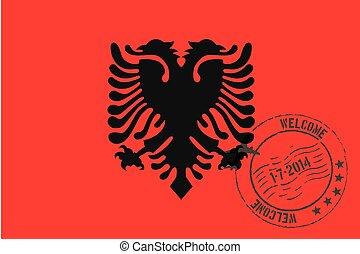 estampado, ilustração, de, a, bandeira, de, albânia