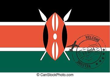 estampado, ilustração, de, a, bandeira, de, kenya