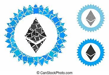 estampe ícone, selo, mosaico, raggy, partes, ethereum