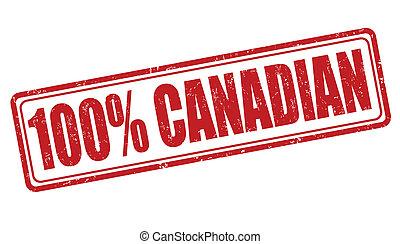 estampilla, 100 por ciento, canadiense