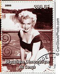 :, estampilla, 1960s, -, marylyn, actriz, Congo, impreso,...