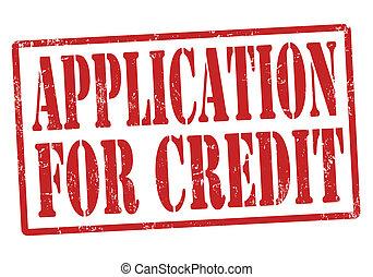 estampilla, aplicación, credito
