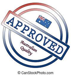 estampilla, australiano, calidad, aprobado