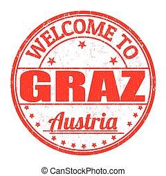 estampilla, austria, bienvenida, graz
