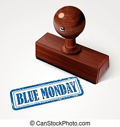 estampilla, azul, lunes