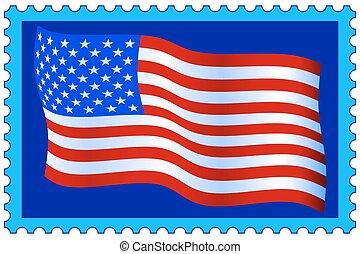 estampilla, bandera, estados unidos de américa