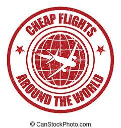 estampilla, barato, vuelo, alrededor, mundo