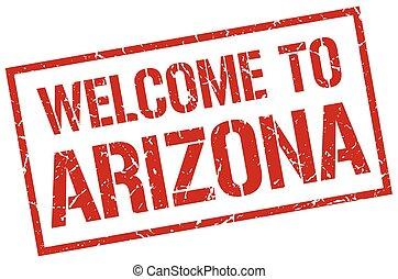 estampilla, bienvenida, arizona