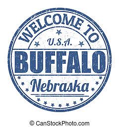 estampilla, bienvenida, búfalo