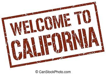 estampilla, bienvenida, california