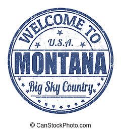 estampilla, bienvenida, montana