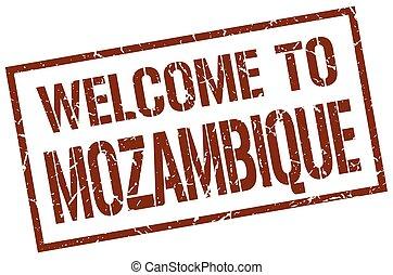 estampilla, bienvenida, mozambique