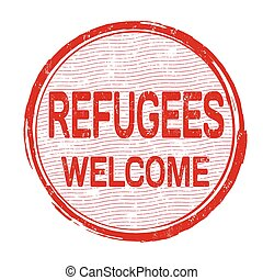 estampilla, bienvenida, refugees