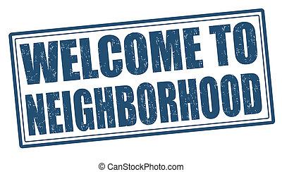 estampilla, bienvenida, vecindad