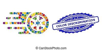 estampilla, bolide, rueda de coche, color, multicolor, angustia, mosaico, discriminación