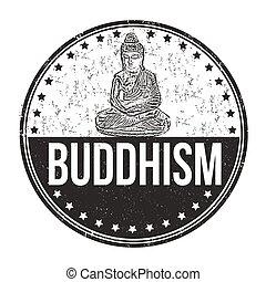 estampilla, budismo, grunge