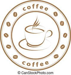 estampilla, café, vector, taza