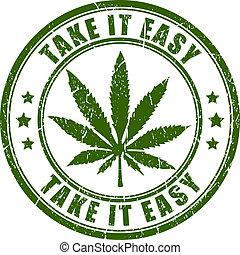 estampilla, cannabis, vector, rastaman