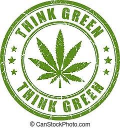 estampilla, cannabis, verde, pensar
