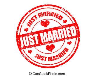 estampilla, casado, sólo