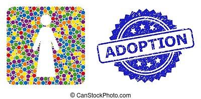 estampilla, caucho, coloreado, adopción, brillante, collage...