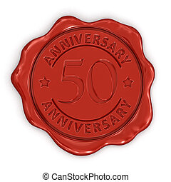 estampilla, cera, aniversario, 50th