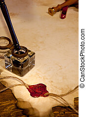 estampilla, cera, pergamino, sello