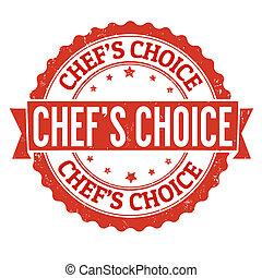 estampilla, chef, opción