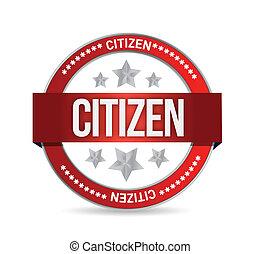 estampilla, ciudadano, diseño, ilustración, sello