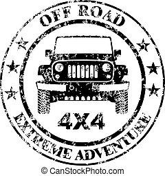 estampilla, coche, off-road, grunge