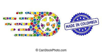 estampilla, colombia, bolide, rueda, angustia, coloreado, brillante, mosaico, hecho