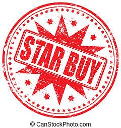 estampilla, comprar, estrella