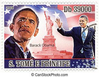 estampilla, con, 44th, presidente, de, estados unidos de...