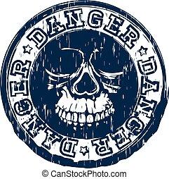 estampilla, cráneo, peligro