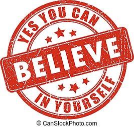 estampilla, creer, usted mismo