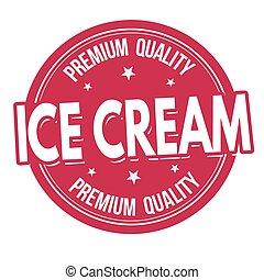 estampilla, crema, o, hielo, etiqueta