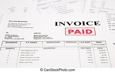 estampilla, cuentas, factura, pagado