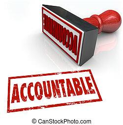estampilla, culpa, credito, accountable, responsabilidad, assigning