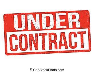 estampilla, debajo, o, contrato, señal