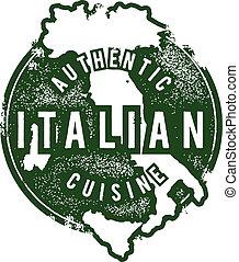 estampilla del alimento, italiano, restaurante