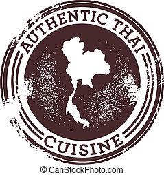 estampilla del alimento, tailandés, auténtico, clásico