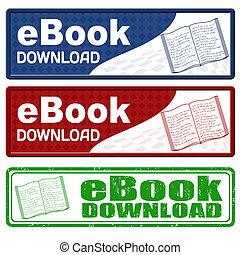 estampilla, descargue, ebook, grunge, iconos